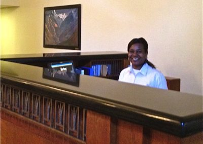 Dawn working the Front Desk