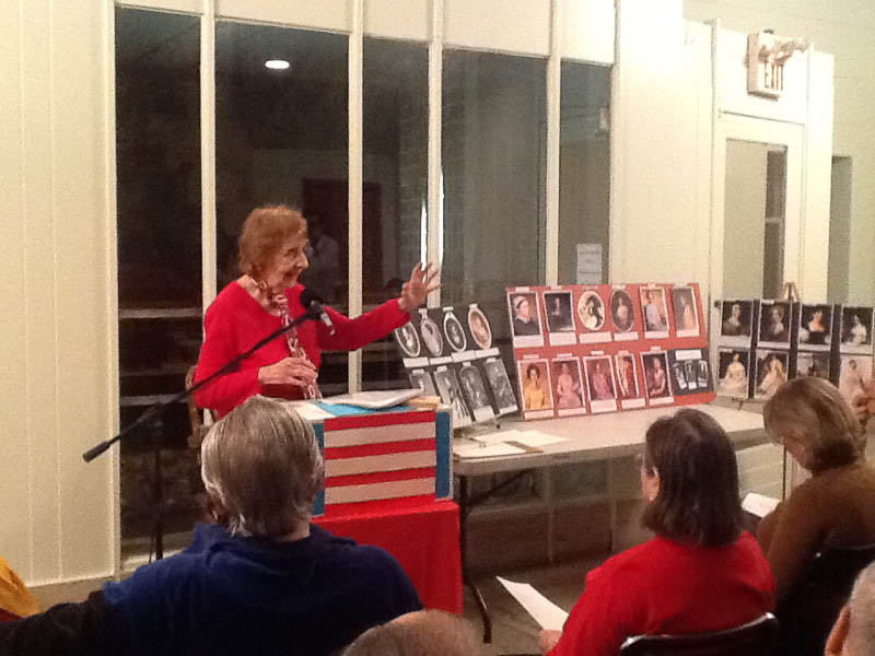 "Mildred Speiser presenting ""22The Secret Lives of (Some) Presidents' Wives"" at Monday Night at the Master's, February 11, 2013."